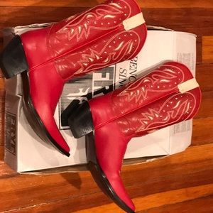 Frye red leather cowboy boots